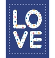 abstract hanging jewels striped love text vector image vector image