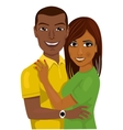 african american couple hugging together vector image vector image