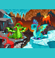 badragons in a landscape with fire and ice vector image