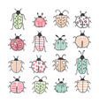 big outline hand drawn doodle set - insects bugs vector image