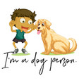 boy and pet dog vector image vector image
