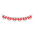 canadian flag garlands hanging with heart shape vector image vector image
