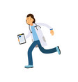 cartoon character doctor with tablet in hand vector image vector image