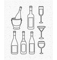 champagne set bottles with cups vector image vector image