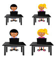 children sitting and holding laptop vector image vector image