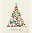 christmas and new year retro geometric icon tree vector image