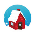 color circular frame with house in winter vector image vector image