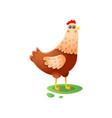 cute kawai hen standing walking on green farmyard vector image vector image