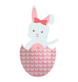 cute rabbit with broken easter egg painted vector image