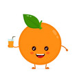 cute smiling happy orange with juice glass vector image