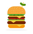 double burger with cheese and cucumber vector image