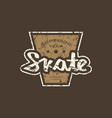 emblem with rough texture for skate club vector image