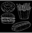fast food set hand drawn sketch on blackboard vector image vector image
