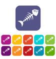 fish bone icons set flat vector image vector image
