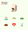 flat icon animal set of bunny fish nutrient vector image