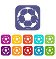 football or soccer ball icons set flat vector image vector image