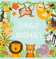 frame with tropical animals and plants vector image vector image