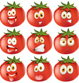 Fresh tomato with facial expressions vector image vector image