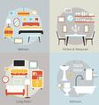 Furniture in Bedroom Restaurant Bathroom Living vector image