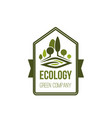 green trees nature and ecology company icon vector image vector image
