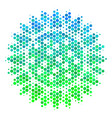 halftone blue-green sunflower icon vector image