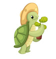 happy cute turtle walking with smile little vector image vector image