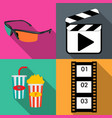 icons for movie popcorn in flat vector image vector image