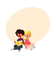 kids black african boy and caucasian girl vector image vector image