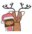 nice girl with christmas clothes and reindeer vector image
