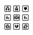 people divorce concept icons set vector image