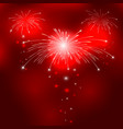 Red background with fireworks vector image vector image