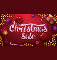 red christmas sale banner with garland christmas vector image