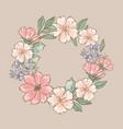 retro wreath floral flower hand drawn illus vector image vector image
