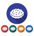 round icon of cookie flat style with long shadow vector image