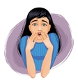 Scared woman who closes her mouth with her hands vector image vector image