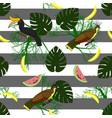 seamless pattern with tropical birds plants and vector image