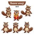 set of cute beaver characters set 2 vector image