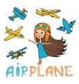 set of girl and planes vector image vector image