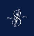 sewing studio logo vector image vector image