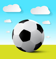 Soccer Ball on Field with Blue Sky and Cloud vector image vector image