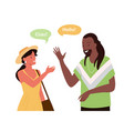 speak different languages say hello greeting vector image vector image
