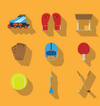 sports eqipment set icon flat design gaming items vector image