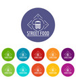 street food icons set color vector image vector image