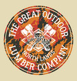 the great outdoor woodsman lumber company vector image vector image