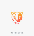 tiger line art template vector image