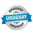 Uruguay round silver badge with blue ribbon vector image vector image