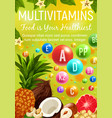 vitamins and multivitamins healthy organic food vector image vector image