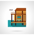Wooden bungalow flat design icon vector image vector image