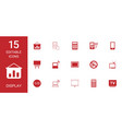 15 display icons vector image vector image