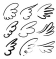 abstract flying dove sketch set icon collection vector image vector image